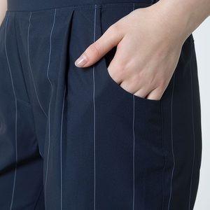 MPG NAVY PINSTRIPE BRITT 2.0 STRAIGHT LEG PANTS